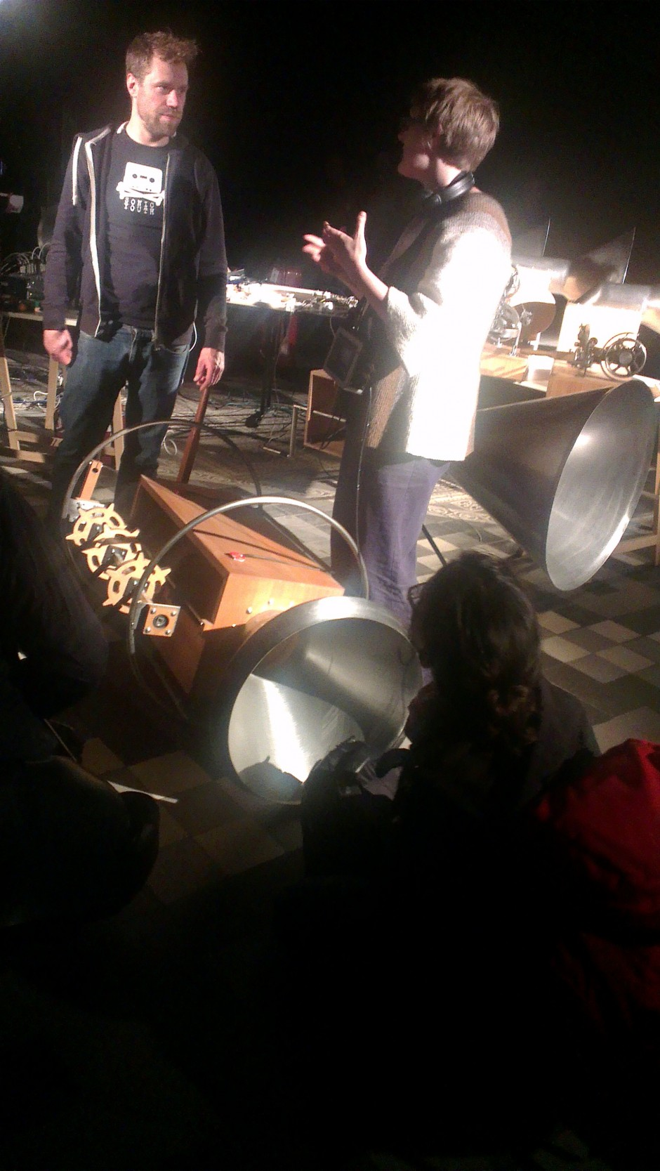 Sound art gives Wessel Westerfeld and Yuri Landman the horn.  Felix and Valeria admire...