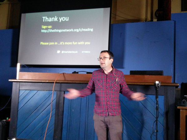 Mark on stage at Reading Geek Night, 10 Nov